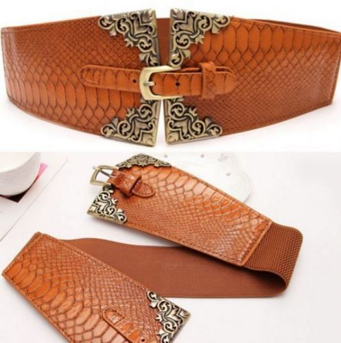 Belt Women's Elastic Belt Brown Embossed  Antique Ladies Stretch Belt - Zabardo